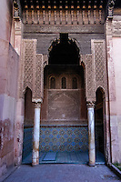 Morocco, Marrakesh. The Saadian tombs date back from the time of the great sultan Ahmad I al-Mansur.