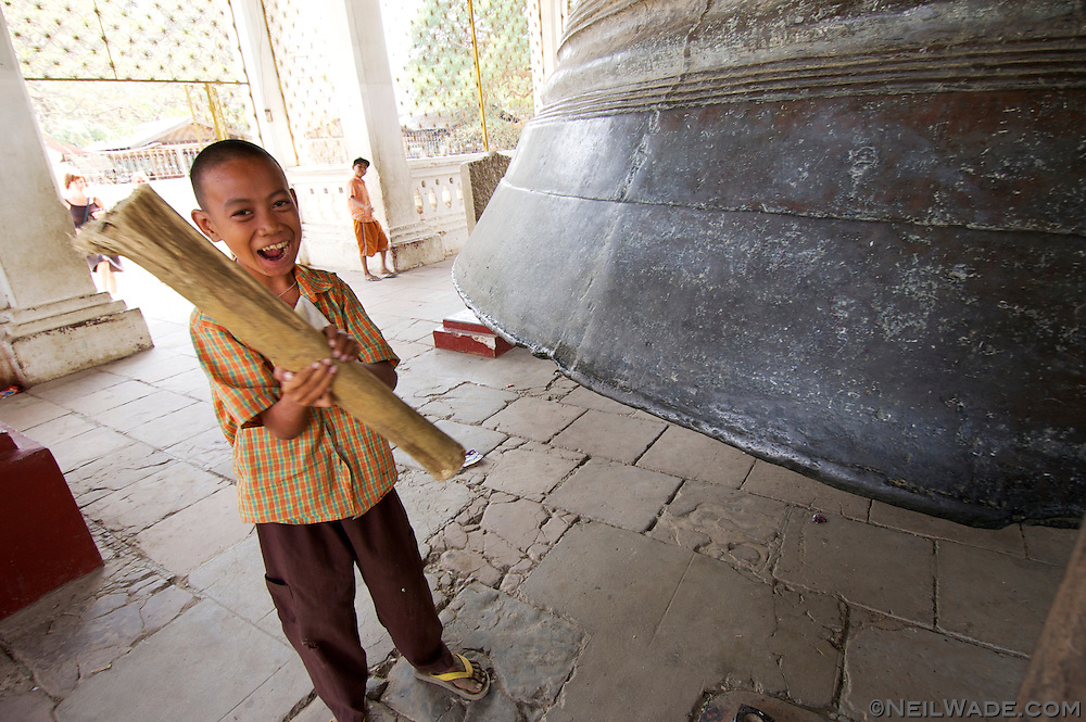 Mentally handicapped children are a huge burden on families in third world countries.  This boy is lucky enough to live in a nunnery that cares for him.  He spends most of his day ringing this huge bell for tourists...he doesn't want any money, he just enjoys ringing it that much.