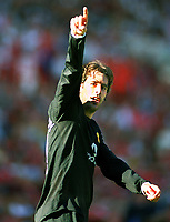 Ruud Van Nistelrooy (Man Utd) celebrates his 2nd goal. Charlton Athletic v Manchester United. 13/9/2003. Credit : Colorsport/Andrew Cowie.