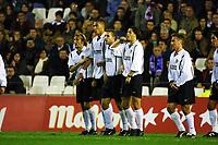 Football, 7. januar 2000. Valencia-Racing Santander, spansk eliteserie. Fra venstre:Gaizka Mendieta, John Carew, Ruben Baraja,  Zlatko Zahovic, Didier Deschamps fra Valencia.