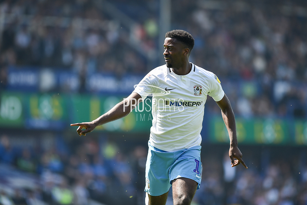 Coventry City Forward, Jordy Hiwula (11) scores a goal to make it 0-1 during the EFL Sky Bet League 1 match between Portsmouth and Coventry City at Fratton Park, Portsmouth, England on 22 April 2019.