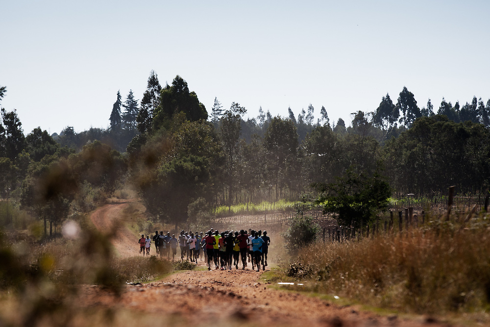 A group run in Iten, Kenya can consist of several hundred athletes, all hopeful of an entry in a prestigious international event.