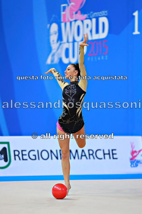 Castiglioni Lucia during qualifying at ball in Pesaro World Cup 10 April 2015.<br /> Lucia is a San Marino athlete born on May 28,1998 in San Marino.