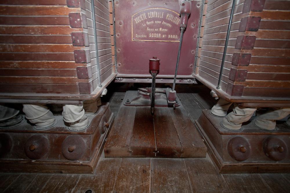 Flour mill machine, the oldest existing Plansichter in France,  PRN the Livradois-Forez, St. Dier d'Auvergne, Auvergne, France
