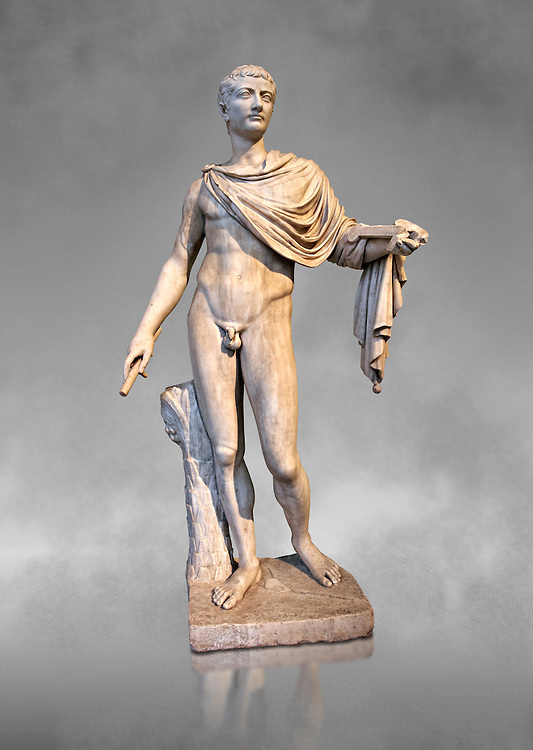 Roman marble sculpture of a male figure restored as Augustus 2nd century AD, inv no 6053, Naples Museum of Archaeology, Italy ..<br /> <br /> If you prefer to buy from our ALAMY STOCK LIBRARY page at https://www.alamy.com/portfolio/paul-williams-funkystock/greco-roman-sculptures.html . Type -    Naples    - into LOWER SEARCH WITHIN GALLERY box - Refine search by adding a subject, place, background colour, etc.<br /> <br /> Visit our ROMAN WORLD PHOTO COLLECTIONS for more photos to download or buy as wall art prints https://funkystock.photoshelter.com/gallery-collection/The-Romans-Art-Artefacts-Antiquities-Historic-Sites-Pictures-Images/C0000r2uLJJo9_s0