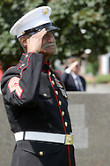 Town of Wallkill, N.Y.  -  An elderly Marine Corps veteran salutes during a Memorial Day ceremony  on May 25, 2009.