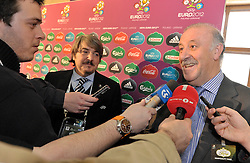 ANDRIY SCHEVCHENKO (UKRAINE) SHOWS THE TICKET OF SLOVENIA DURING THE UEFA EURO 2012 QUALIFYING DRAW IN PALACE SCIENCE AND CULTURE IN WARSAW, POLAND..THE 2012 EUROPEAN SOCCER CHAMPIONSHIP WILL BE HOSTED BY POLAND AND UKRAINE...WARSAW, POLAND , FEBRUARY 07, 2010..( PHOTO BY ADAM NURKIEWICZ / MEDIASPORT / SPORTIDA.COM ).