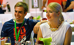 "17.05.2014, T Com, Berlin, GER, DFB Pokal, Bayern Muenchen Pokalfeier, im Bild Phillip Lahm and Claudia Lahm Phillip Lahm, Claudia Lahm, // during the FC Bayern Munich ""DFB Pokal"" Championsparty at the T Com in Berlin, Germany on 2014/05/17. EXPA Pictures © 2014, PhotoCredit: EXPA/ Eibner-Pressefoto/ EIBNER<br /> <br /> *****ATTENTION - OUT of GER*****"