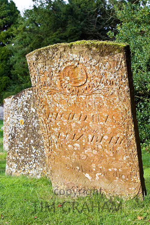 Gravestone at St Mary the Virgin Church, Chastleton in the Cotswolds, Oxfordshire, UK.
