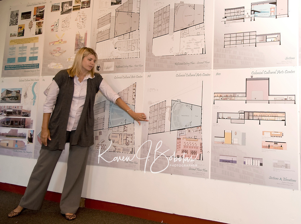Stephanie Wentworth's college thesis on revitalization of Colonial Cultural Arts Center at Belknap Mill Laconia, NH.   (Karen Bobotas  for the Laconia Daily Sun)