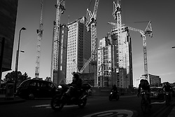Construction site in Southbank Place, York Road. Cranes have become a symbol of London skyline, a costant presence that is evolving London cityscape.