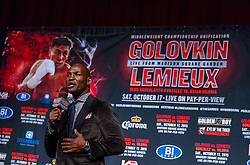 """NEW YORK, NY - OCT 16 Boxing superstar, Bernard """"Alien"""" Hopkins attends the Golovkin vs Lemieux official weigh in saturday at Madison Square Garden on 16 October, 2015 in New York, NY USA. Byline, credit, TV usage, web usage or linkback must read SILVEXPHOTO.COM. Failure to byline correctly will incur double the agreed fee. Tel: +1 714 504 6870."""