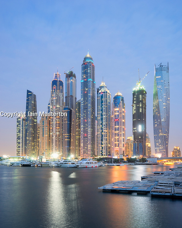 Evening skyline of skyscrapers at Marina District in Dubai  United Arab Emirates