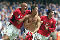 Ronaldo (Utd) celebrates his goal with Wes Brown and Ruud Van Nistelrooy. Manchester United v Milwall. FA Cup Final 2004 @  The Millennium Stadium,Cardiff. 22/5/2004. <br /> Foto: Colorsport/Digitalsport<br /> NORWAY ONLY