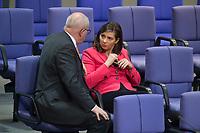 17 FEB 2016, BERLIN/GERMANY:<br /> Volker Kauder (L), CDU, CDU/CSU Fraktionsvorsitzender, und Katrin Goering-Eckardt (R), B90/Gruene Fraktionsvorsitzende, im Gespraech, waehrend der Debatte zur Regierunsgerklaerung der Bundeskanzlerin zum Europaeischen Rat, Plenum, Deutscher Bundestag<br /> IMAGE: 20160217-03-053<br /> KEYWORDS: Debatte, Gespräch