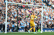 Manchester city goalkeeper Joe Hart in action. Barclays premier league match, Manchester city v Chelsea at the Etihad stadium in Manchester,Lancs on Sunday 21st Sept 2014<br /> pic by Andrew Orchard, Andrew Orchard sports photography.