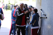 Swansea city manager Francesco Guidolin greets the fans as he arrives at the stadium before the match. Barclays Premier league match, Swansea city v Manchester city at the Liberty Stadium in Swansea, South Wales on Sunday 15th May 2016.<br /> pic by Andrew Orchard, Andrew Orchard sports photography.