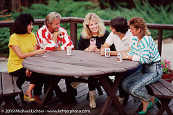 Arlen Ness with his family on the deck of their Castro Valley house. Left to right: Bev, Arlen, Kim, Cory and Sherri.  Photograph ©Michael Lichter 1987