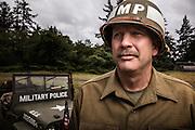 USA, Oregon, Astoria, Ft. Stevens State Park, Military Police, WWII living history encapment. MR