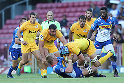Pieter-Steph du Toit of the Stormers tackles Guido Petti of the Jaguares during the Super Rugby match between DHL Stormers and Jaguares held at DHL Newlands in Cape Town, South Africa on the 4th March 2017.<br /> <br /> Photo by Ron Gaunt/Villar Press