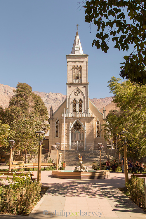 The Church or Iglesia in the plaza of Pisco Elqui in the Elqui Valley in Chile