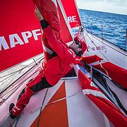 Leg 8 from Itajai to Newport, day 06 on board MAPFRE, Antonio Cuervas-Mons during a peeling. 27 April, 2018.
