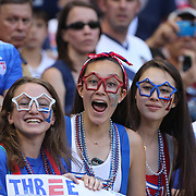 Young U.S. Women's National Team fans cheer their side during the U.S. Women's National Team Vs Korean Republic, International Soccer Friendly in preparation for the FIFA Women's World Cup Canada 2015. Red Bull Arena, Harrison, New Jersey. USA. 30th May 2015. Photo Tim Clayton