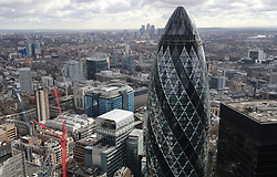 Embargoed to 0001 Friday April 28 File photo dated 09/03/17 of the London skyline as seen from Tower 42 with the 'Gherkin' (foreground), 30 St Mary Axe and Canary Wharf (background) prominent. London and the South East will account for two fifths of the UK economy by 2022 if current trends continue, according to a study.