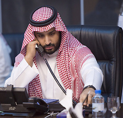 File photo - Saudi Arabia's new Defense Minister Prince Mohammed bin Salman bin Abdelaziz Al Saud, born in 1980 (probably the world's youngest minister of Defence) seen leading the operation Decisive Stormair campaign, launched against Houthi militants in Yemen, from the main command centre in Riyadh, Saudi Arabia, on March 26, 2015. A new Saudi anti-corruption body has detained 11 princes, four sitting ministers and dozens of former ministers, media reports say. The detentions came hours after the new committee, headed by Crown Prince Mohammed bin Salman, was formed by royal decree. Photo by Balkis Press/ABACA.