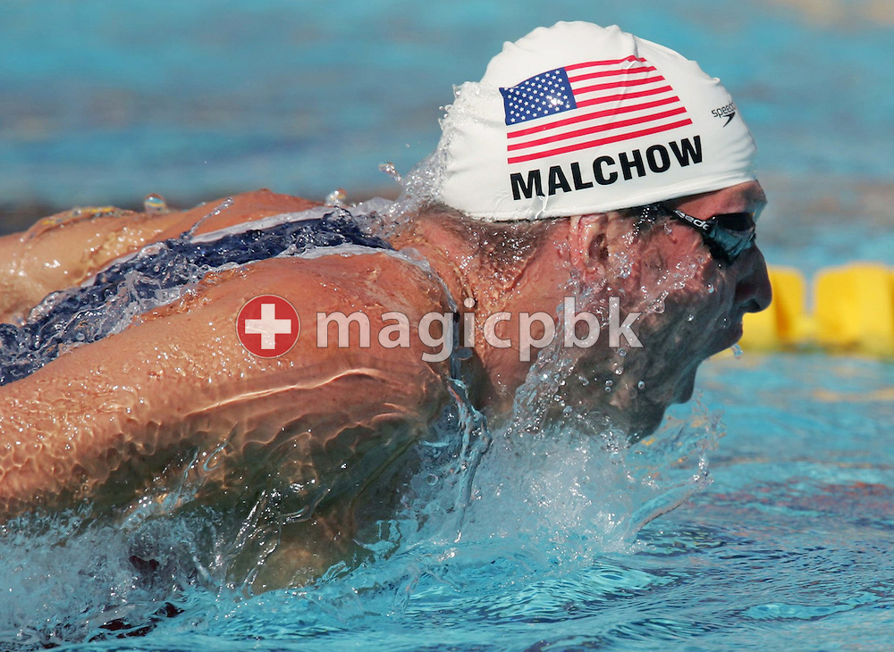 Tom Malchow from USA swims his men's 200m Butterfly qualifying heat at the Athens Olympic Aquatic Centre, Monday 16 August 2004.    (Photo by Patrick B. Kraemer / MAGICPBK)