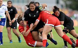 Canada's Lauar Russell and DaLeaka Menin and New Zealand's Katie Mata'u