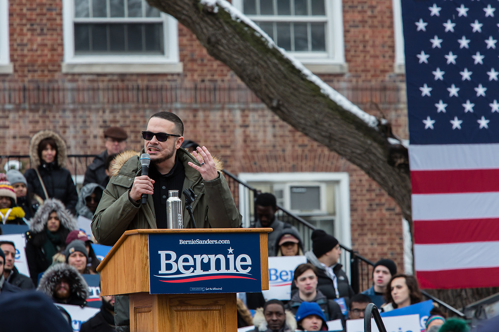 Brooklyn, NY - 2 March 2019. Activist Shaun King speaking at Bernie Sanders' first rally for the 2020 presidential primary at Brooklyn College.