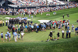 August 12, 2018 - Town And Country, Missouri, U.S - The media gathers around waiting for BROOKS KOEPKA from West Palm Beach Florida, USA to be presented the Wanamaker Trophy on the 18th green during round four of the 100th PGA Championship on Sunday, August 12, 2018, held at Bellerive Country Club in Town and Country, MO (Photo credit Richard Ulreich / ZUMA Press) (Credit Image: © Richard Ulreich via ZUMA Wire)