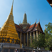 Tourists in the Emerald Budda Temple, Bangkok, Thailand