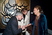 GEORGE ANTAKI; MARYAM SACHS; EMPRESS FARAH PAHLAVI OF IRAN, Book launch for ' art and Patronage: The Middle East' at Sotheby's. London. 22 November 2010. -DO NOT ARCHIVE-© Copyright Photograph by Dafydd Jones. 248 Clapham Rd. London SW9 0PZ. Tel 0207 820 0771. www.dafjones.com.