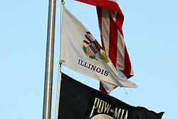 11 August 2012:  The state of Illinois flag flies during a Frontier League Baseball game between the River City Rascals and the Normal CornBelters at Corn Crib Stadium on the campus of Heartland Community College in Normal Illinois.  The CornBelters take this game in 9 innings 7 - 2 with a 5 run 2nd inning.