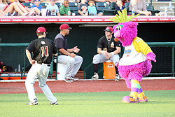 11 August 2012:  After much encouragement, Reggie the Purple Party Dude gets one of the Rascal coaches to dance during a Frontier League Baseball game between the River City Rascals and the Normal CornBelters at Corn Crib Stadium on the campus of Heartland Community College in Normal Illinois.  The CornBelters take this game in 9 innings 7 - 2 with a 5 run 2nd inning.