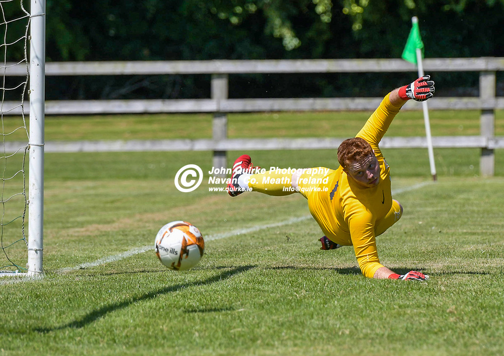 Duleek goalkeeper, Adam Byrne, watches the ball flash by his post,  during the Trim Celtic v Duleek, NEFL (Premier) match in Tully Park, Trim.<br /> <br /> Photo: GERRY SHANAHAN-WWW.QUIRKE.IE<br /> <br /> 18-07-2021