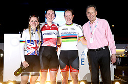 Katie Archibald (second left) celebrates winning the Women's 10km Scratch Race with Laura Kenny (left) and Kirsten Wild during Day Three of the Six Day Series Manchester at the HSBC UK National Cycling Centre.