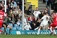 Photo: Paul Thomas.<br /> MK Dons v Swindon Town. Coca Cola League 1.<br /> 01/10/2005.<br /> <br /> Gareth Edds scores for MK Dons.