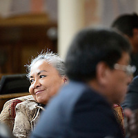012714  Adron Gardner/Independent<br /> <br /> Navajo Nation Tribal Council delegate Katherine Benally takes her seat on day one of the winter council session in Window Rock Monday.