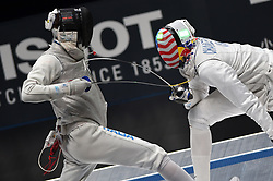 WUXI, July 27, 2018  Daniele Garozzo (L) of Italy fights with Miles Chamley-Watson during the men's foil team final between Italy and the United States at the Fencing World Championships in Wuxi, east China's Jiangsu Province, July 27, 2018. Italy beat US 45-34 and claimed the title of the event. (Credit Image: © Han Yuqing/Xinhua via ZUMA Wire)