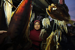 Fitri 30 years old runs a dried fish stall on the roadside in Lhok Seudu Village where Oxfam had built shelter following the Indian Ocean Tsunami of Dec 2004, District Aceh Besar, Aceh Province, Sumatra, Indonesia