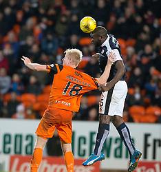 Dundee United's Thomas Mikkelsen and Raith Rovers Jean-Yves Mvoto. Dundee United 3 v 0 Raith Rovers, Scottish Championship game played 4/2/2017 at Dundee United's stadium Tannadice Park.