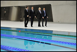 Britain's Prime Minister David Cameron (2nd, L) and Mayor of London Boris Johnson (2nd, R) together with Lord Sebastian Coe (R) and Jeremy Hunt Secretary of State for Culture, Olympics, Media and Sport (L) visit the Olympic Aquatic Centre on January 9, 2012 in London, England. Cameron held a cabinet meeting at the 2012 Olympic Games site and highlighted the 'lasting legacy' the London 2012 Olympics will leave, as the London Olympics countdown enters its final 200 days, Monday January 9, 2012. Photo By Andrew Parsons/ i-Images
