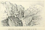 Lower Ravine of the Kedron [Kidron] from the Convent of Mar Saba. Lithograph of from the book Palestine illustrated by Sir Richard Temple, 1st Baronet, GCSI, CIE, PC, FRS (8 March 1826 – 15 March 1902) was an administrator in British India and a British politician. Published in London by W.H. Allen & Co. in 1888