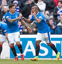 Rangers' Alfredo Morelos (right) celebrates scoring his side's first goal of the game with James Tavernier during the William Hill Scottish Cup, fifth round match at Somerset Park, Ayr.