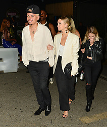 Evan Ross and Ashlee Simpson are seen in Los Angeles, CA.