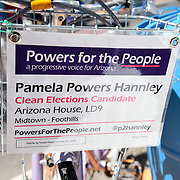 Nothing attracts politicians like huge crowds. During Cyclovia Tucson, I spotted two mayoral election campaigns on wheels and at information booths. This is Arizona Rep. Pamela Powers Hannley's official campaign bicycle.
