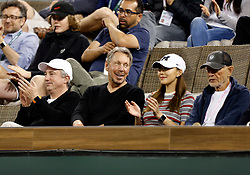 March 10, 2018 - Indian Wells, CA, U.S. - INDIAN WELLS, CA - MARCH 10: Chief Technology and Co-Founder of Oracle Larry Ellison watches a match between Fernando Veradsco and Grigor Dimitrov during the second round of the BNP Paribas Open on March 10, 2018, at the Indian Wells Tennis Gardens in Indian Wells, CA. (Photo by Adam  Davis/Icon Sportswire) (Credit Image: © Adam Davis/Icon SMI via ZUMA Press)